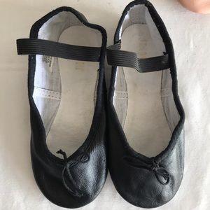 Block black leather ballet shoes Sz 11.5 C